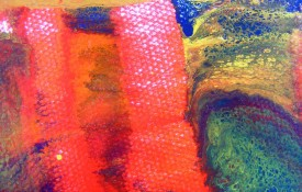 abstract art in enamels on canvas