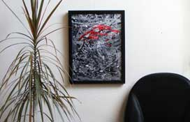 Black White and Red Abstract Art