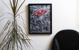 Black , White and Red Framed Abstract Art