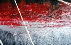 Abstract Contemporary Original Oil Painting by Black Red and White