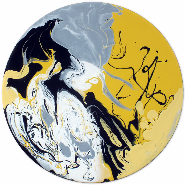 Yellow black and grey round tondo painting