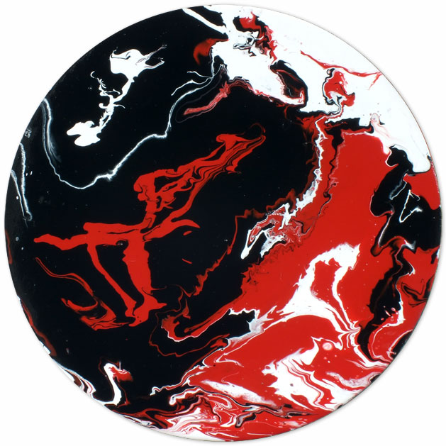 Circular Abstract Art Red Black White On Canvas