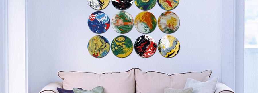 Round Tondi Abstract Art Multi