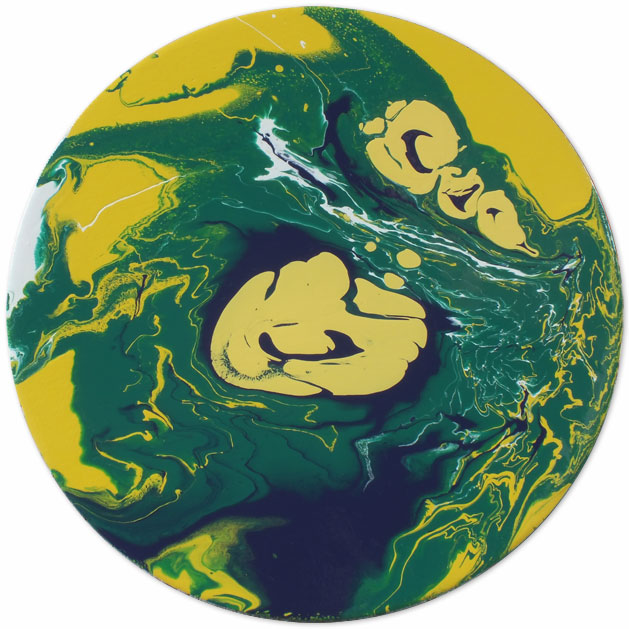 Original Circular Painting Green Yellow Blue