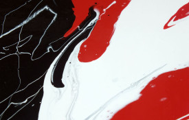 Red and black tondo style abstract painting