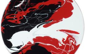 Round tondo style abstract art