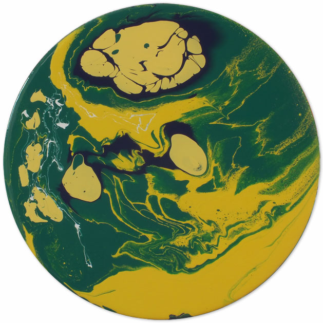 Round abstract art sunshine yellow green and blue