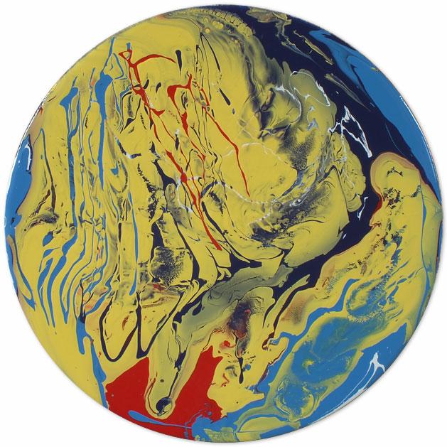 Portholes of Aurelia XX red and blue round art